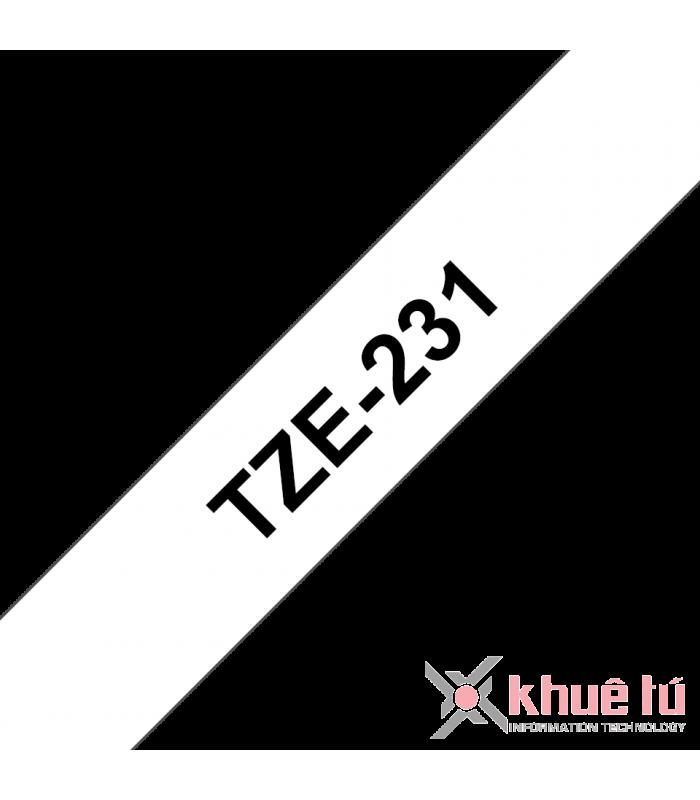 Băng nhãn in Brother TZe-231, khổ 12mm, dài 8m, Black on White, chống thấm nước | Nhãn TZe tiêu chuẩn | khuetu.vn