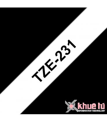 Brother TZe-231, khổ 12mm, dài 8m, Black on White, chống thấm nước