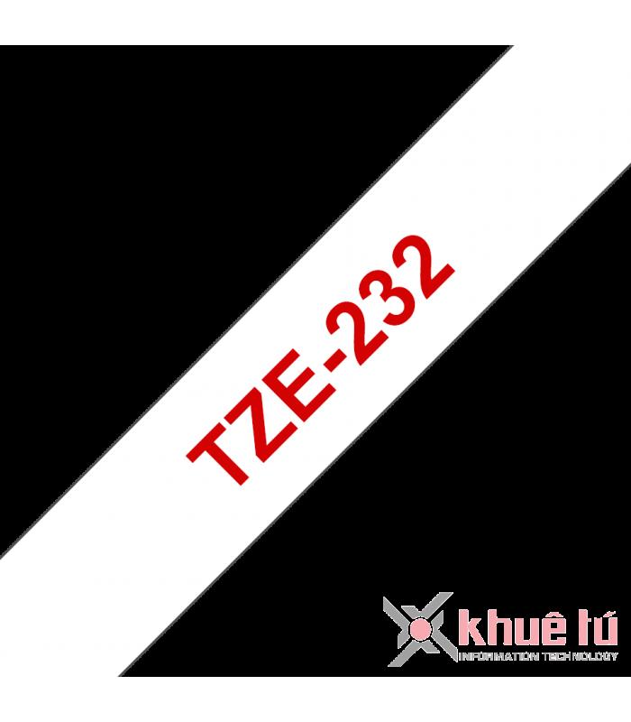 Băng nhãn in Brother TZe-232, khổ 12mm, dài 8m, Red on White, chống thấm nước | Nhãn TZe tiêu chuẩn | khuetu.vn