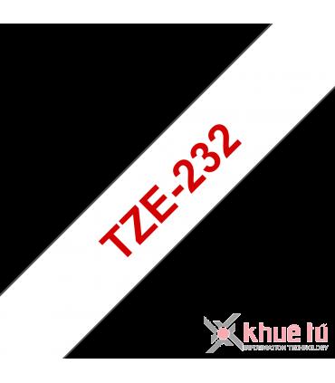Brother TZe-232, khổ 12mm, dài 8m, Red on White, chống thấm nước
