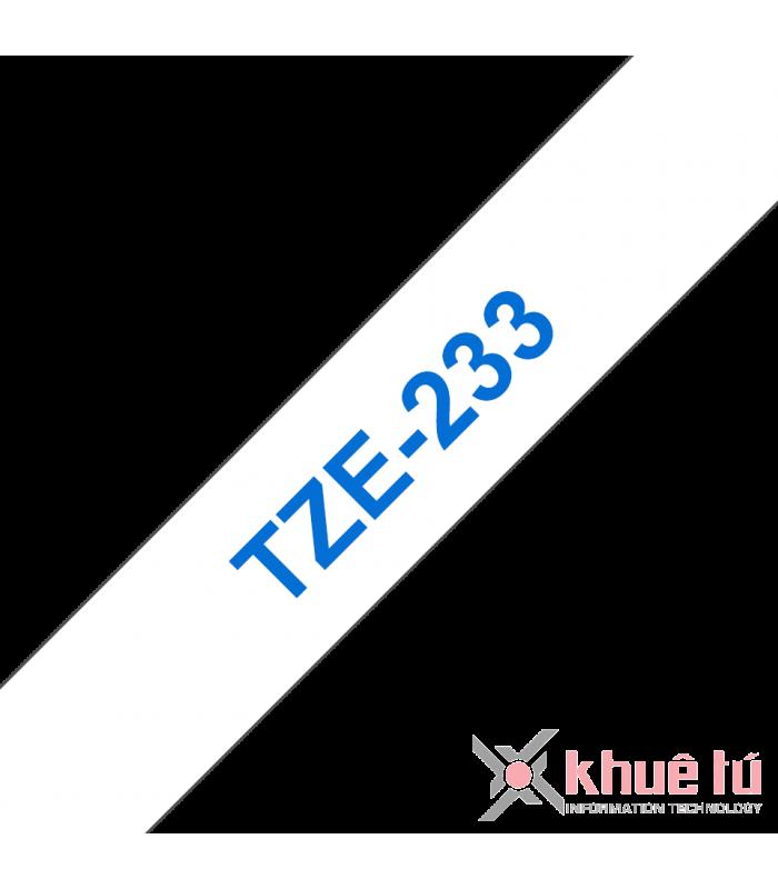 Băng nhãn in Brother TZe-233, khổ 12mm, dài 8m, Blue on White, chống thấm nước | Nhãn TZe tiêu chuẩn | khuetu.vn