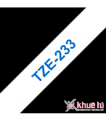 Brother TZe-233, khổ 12mm, dài 8m, Blue on White, chống thấm nước