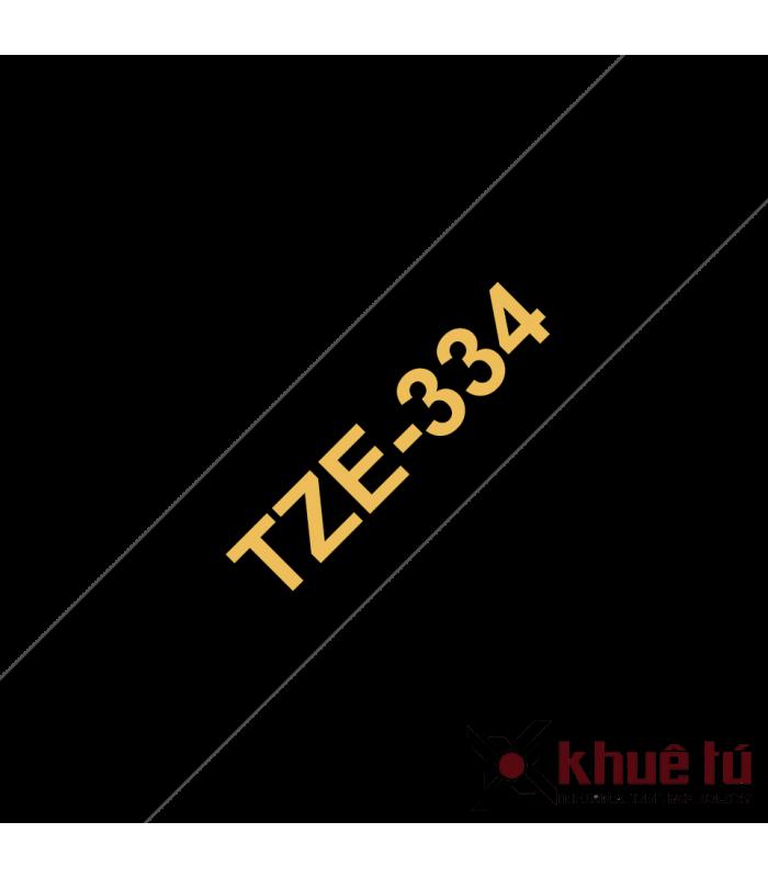 Băng nhãn in Brother TZe-334, khổ 12mm, dài 8m, Gold on Black, chống thấm nước | Nhãn TZe tiêu chuẩn | khuetu.vn