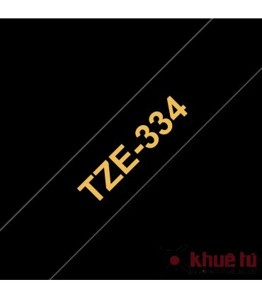 Brother TZe-334, khổ 12mm, dài 8m, Gold on Black, chống thấm nước