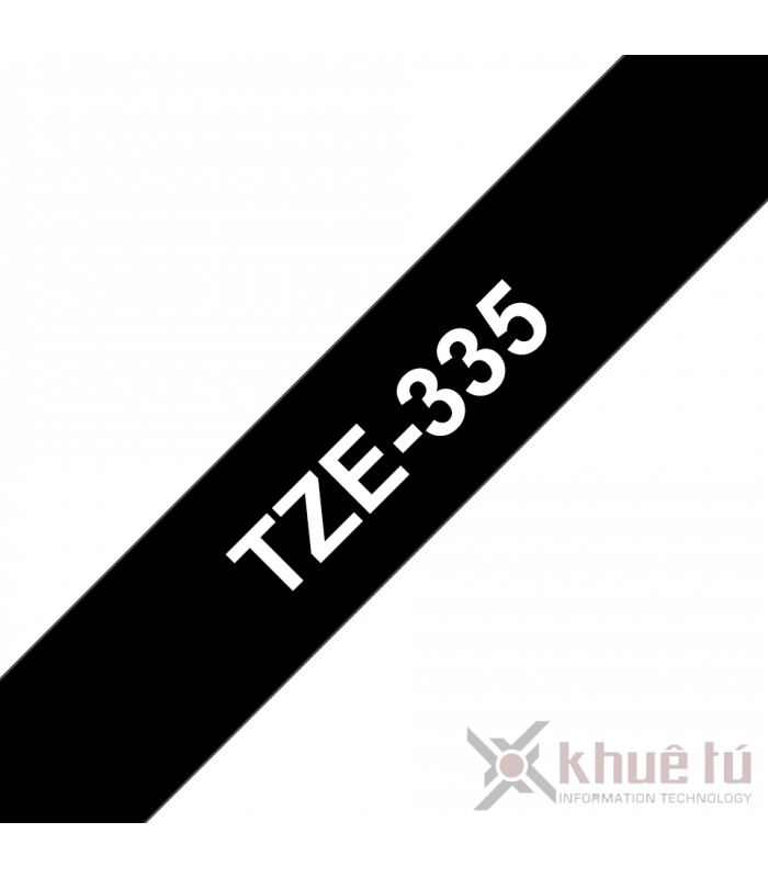 Băng nhãn in Brother TZe-335, khổ 12mm, dài 8m, White on Black, chống thấm nước | Nhãn TZe tiêu chuẩn | khuetu.vn