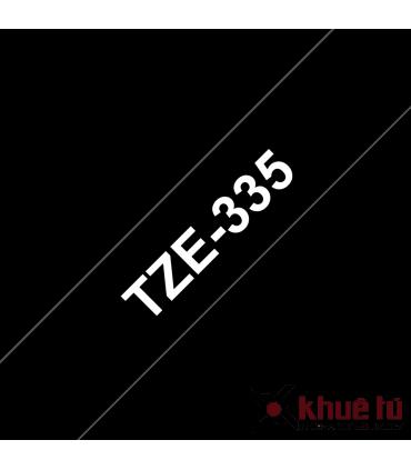 Brother TZe-335, khổ 12mm, dài 8m, White on Black, chống thấm nước