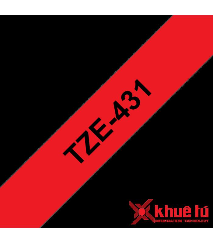 Băng nhãn in Brother TZe-431, khổ 12mm, dài 8m, Black on Red, chống thấm nước | Nhãn TZe tiêu chuẩn | khuetu.vn