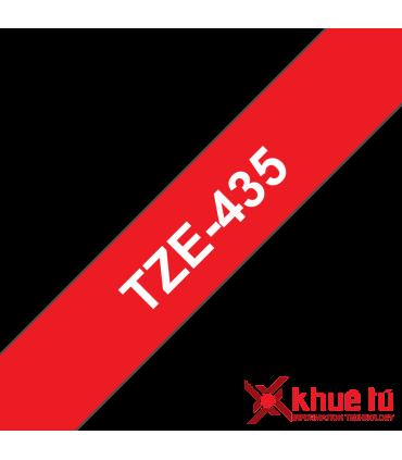 Brother TZe-435, khổ 12mm, dài 8m, White on Red, chống thấm nước