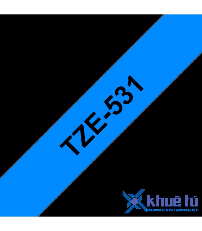 Băng nhãn in Brother TZe-531, khổ 12mm, dài 8m, Black on Blue, chống thấm nước | Nhãn TZe tiêu chuẩn | khuetu.vn