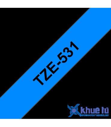 Brother TZe-531, khổ 12mm, dài 8m, Black on Blue, chống thấm nước