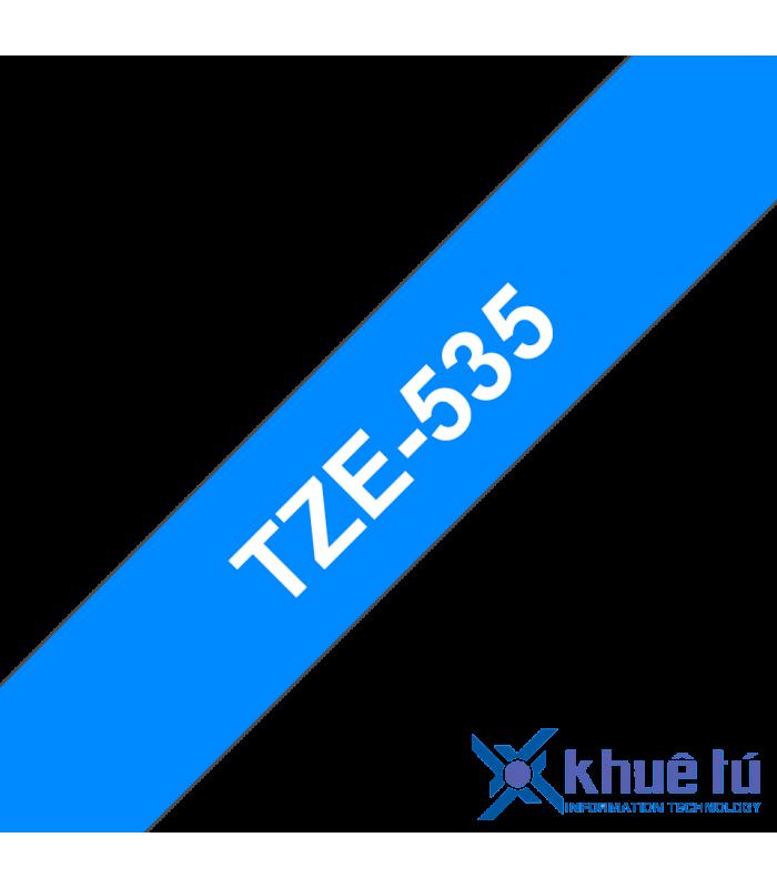 Băng nhãn in Brother TZe-535, khổ 12mm, dài 8m, White on Blue, chống thấm nước | Nhãn TZe tiêu chuẩn | khuetu.vn