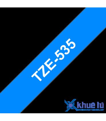 Brother TZe-535, khổ 12mm, dài 8m, White on Blue, chống thấm nước