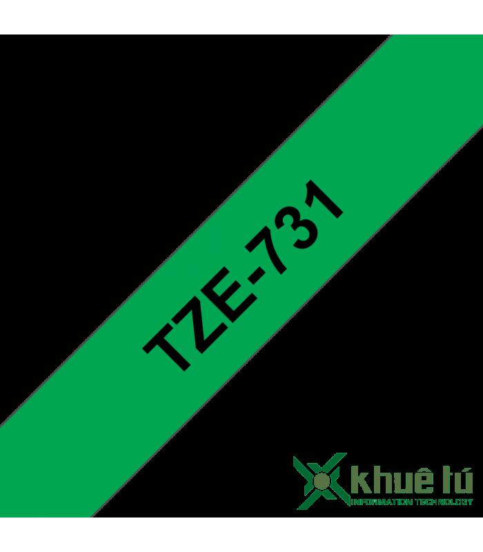 Băng nhãn in Brother TZe-731, khổ 12mm, dài 8m, Black on Green, chống thấm nước | Nhãn TZe tiêu chuẩn | khuetu.vn