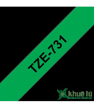 Brother TZe-731, khổ 12mm, dài 8m, Black on Green, chống thấm nước