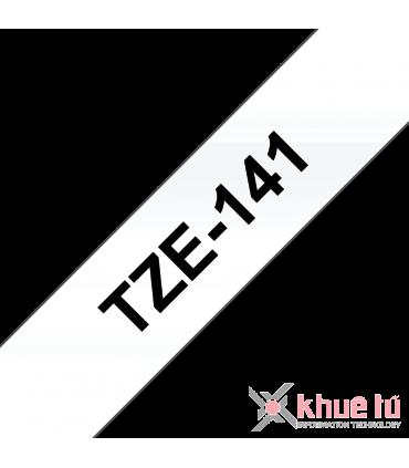 Brother TZe-141, khổ 18mm, dài 8m, Black on Clear, chống thấm nước