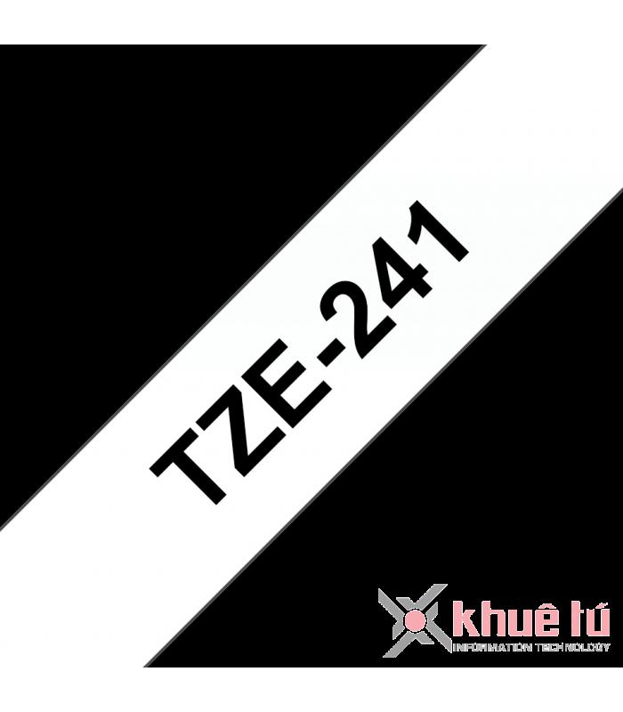 Băng nhãn in Brother TZe-241, khổ 18mm, dài 8m, Black on White, chống thấm nước | Nhãn TZe tiêu chuẩn | khuetu.vn