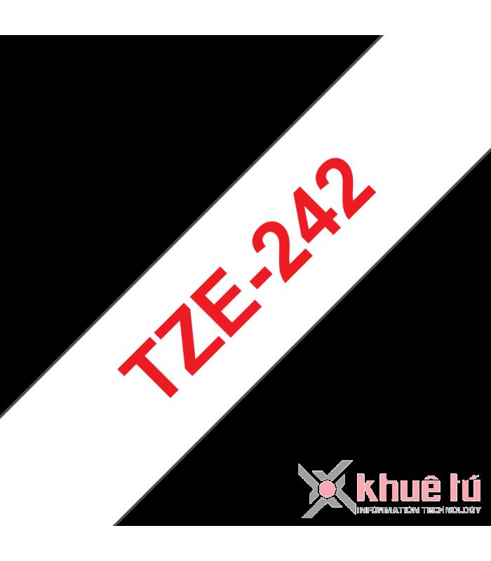Băng nhãn in Brother TZe-242, khổ 18mm, dài 8m, Red on White, chống thấm nước | Nhãn TZe tiêu chuẩn | khuetu.vn
