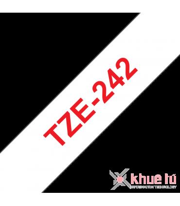 Brother TZe-242, khổ 18mm, dài 8m, Red on White, chống thấm nước