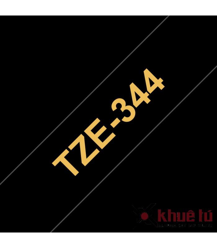 Băng nhãn in Brother TZe-344, khổ 18mm, dài 8m, Gold on Black, chống thấm nước | Nhãn TZe tiêu chuẩn | khuetu.vn