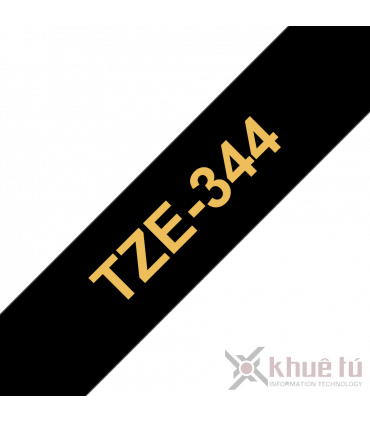 Brother TZe-344, khổ 18mm, dài 8m, Gold on Black, chống thấm nước