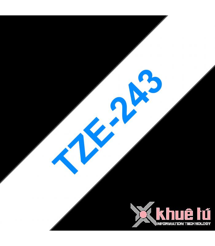 Băng nhãn in Brother TZe-243, khổ 18mm, dài 8m, Blue on White, chống thấm nước | Nhãn TZe tiêu chuẩn | khuetu.vn