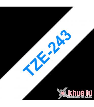 Brother TZe-243, khổ 18mm, dài 8m, Blue on White, chống thấm nước