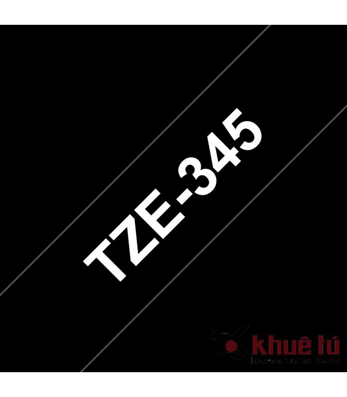 Băng nhãn in Brother TZe-345, khổ 18mm, dài 8m, White on Black, chống thấm nước | Nhãn TZe tiêu chuẩn | khuetu.vn