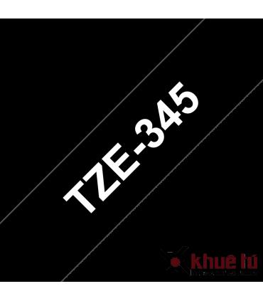 Brother TZe-345, khổ 18mm, dài 8m, White on Black, chống thấm nước