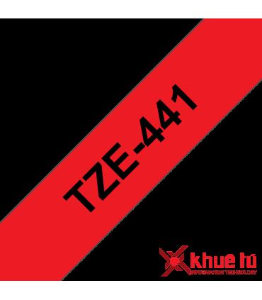 Brother TZe-441, khổ 18mm, dài 8m, Black on Red, chống thấm nước
