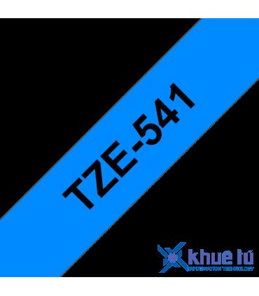 Brother TZe-541, khổ 18mm, dài 8m, Black on Blue, chống thấm nước