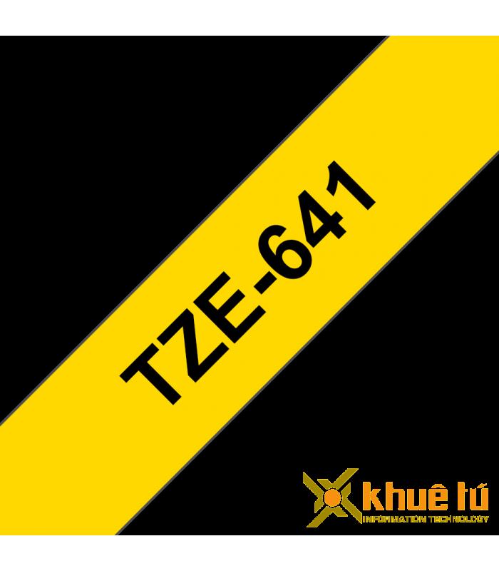 Băng nhãn in Brother TZe-641, khổ 18mm, dài 8m, Black on Yellow, chống thấm nước | Nhãn TZe tiêu chuẩn | khuetu.vn
