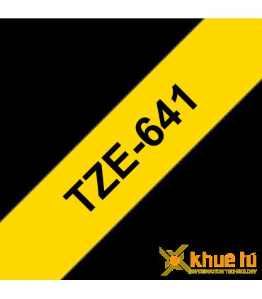 Brother TZe-641, khổ 18mm, dài 8m, Black on Yellow, chống thấm nước