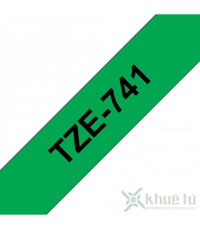 Băng nhãn in Brother TZe-741, khổ 18mm, dài 8m, Black on Green, chống thấm nước | Nhãn TZe tiêu chuẩn | khuetu.vn