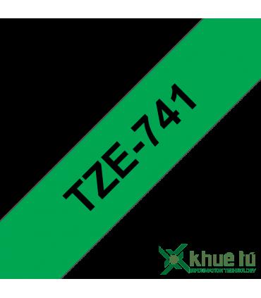 Brother TZe-741, khổ 18mm, dài 8m, Black on Green, chống thấm nước