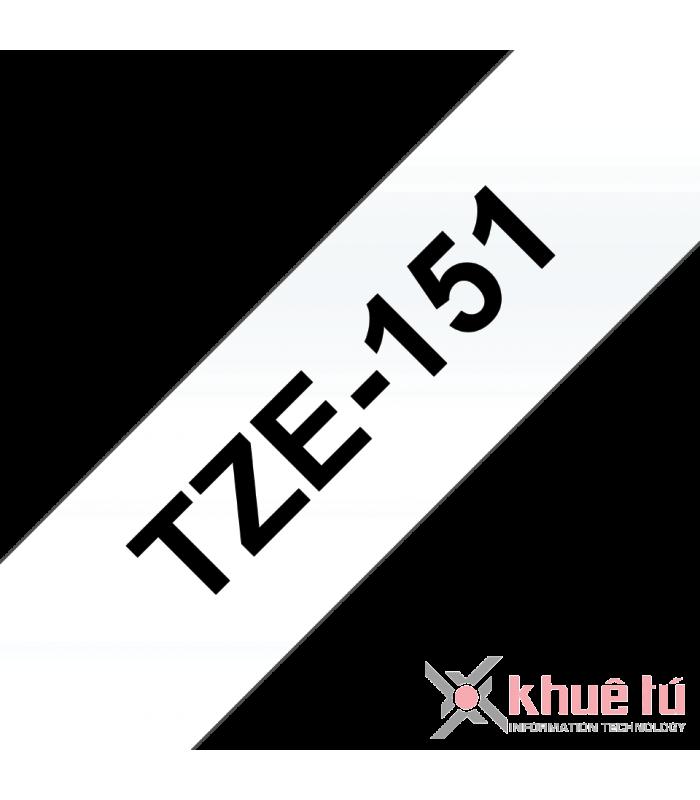 Băng nhãn in Brother TZe-151, khổ 24mm, dài 8m, Black on Clear, chống thấm nước | Nhãn TZe tiêu chuẩn | khuetu.vn