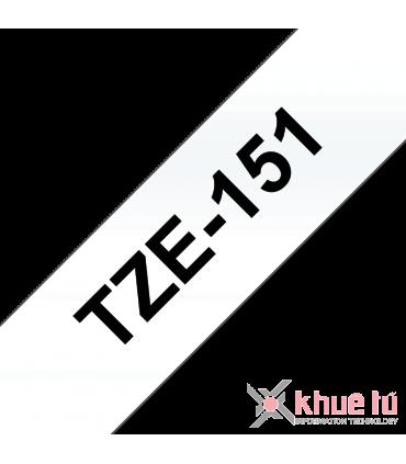 Brother TZe-151, khổ 24mm, dài 8m, Black on Clear, chống thấm nước