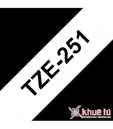 Brother TZe-251, khổ 24mm, dài 8m, Black on White, chống thấm nước
