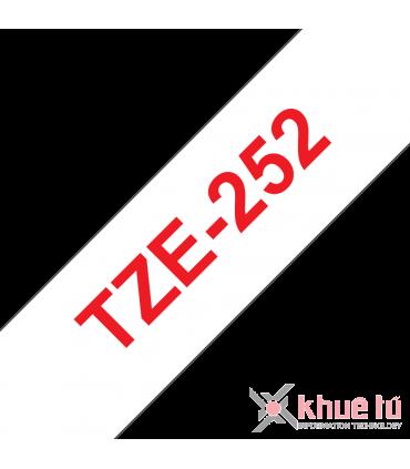 Brother TZe-252, khổ 24mm, dài 8m, Red on White, chống thấm nước