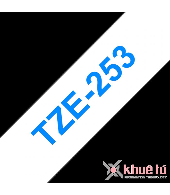 Băng nhãn in Brother TZe-253, khổ 24mm, dài 8m, Blue on White, chống thấm nước | Nhãn TZe tiêu chuẩn | khuetu.vn