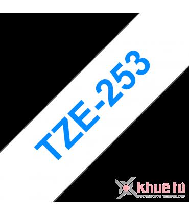 Brother TZe-253, khổ 24mm, dài 8m, Blue on White, chống thấm nước