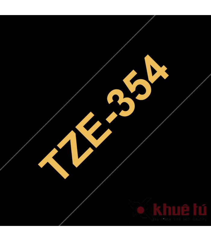 Băng nhãn in Brother TZe-354, khổ 24mm, dài 8m, Gold on Black, chống thấm nước | Nhãn TZe tiêu chuẩn | khuetu.vn