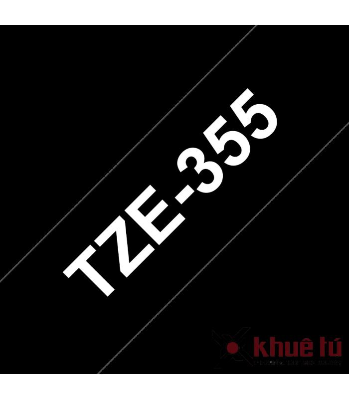 Băng nhãn in Brother TZe-355, khổ 24mm, dài 8m, White on Black, chống thấm nước | Băng nhãn in | khuetu.vn