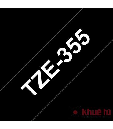 Brother TZe-355, khổ 24mm, dài 8m, White on Black, chống thấm nước