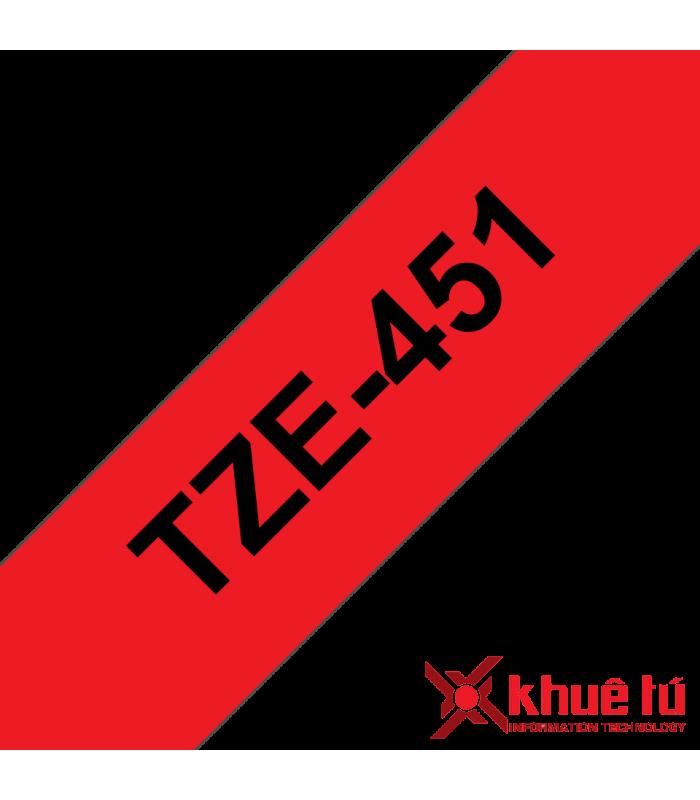 Băng nhãn in Brother TZe-451, khổ 24mm, dài 8m, Black on Red, chống thấm nước | Nhãn TZe tiêu chuẩn | khuetu.vn