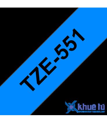 Brother TZe-551, khổ 24mm, dài 8m, Black on Blue chống thấm nước