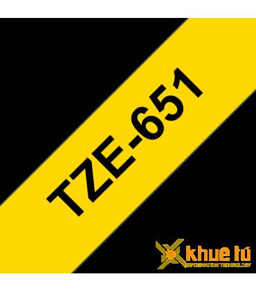 Brother TZe-651, khổ 24mm, dài 8m, Black on Yellow, chống thấm nước