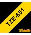 Băng nhãn in Brother TZe-651, khổ 24mm, dài 8m, Black on Yellow, chống thấm nước | Nhãn TZe tiêu chuẩn | khuetu.vn