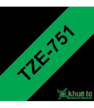 Brother TZe-751, khổ 24mm, dài 8m, Black on Green, chống thấm nước