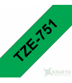Băng nhãn in Brother TZe-751, khổ 24mm, dài 8m, Black on Green, chống thấm nước | Nhãn TZe tiêu chuẩn | khuetu.vn