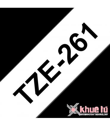 Brother TZe-261, khổ 36mm, dài 8m, Black on White, chống thấm nước
